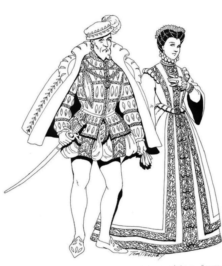 Renaissance Costumes And Clothing Free Printable Coloring Pages No