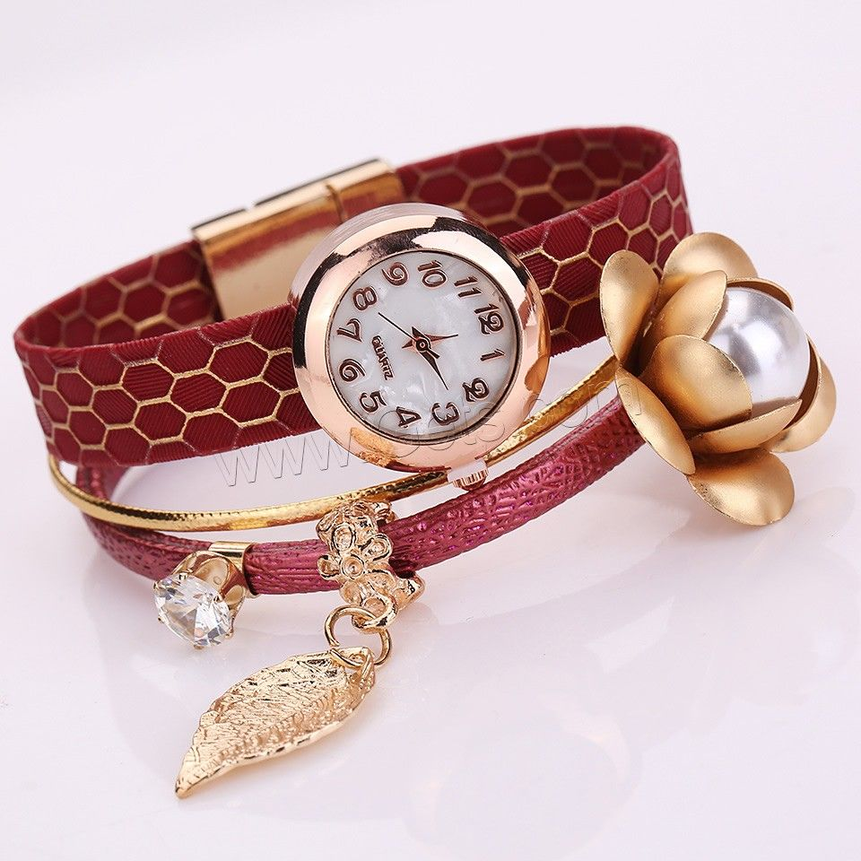 Fashion Watch Bracelet PU with aluminum flower ornament Glass Pearl Glass Zinc Alloy Chinese movement gold color plated with rhinestone - Milky Way Jewelry