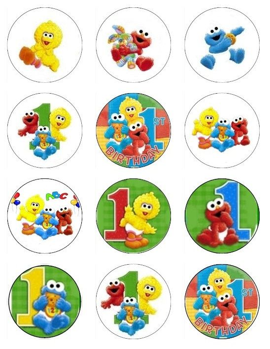 Baby Sesame Street Edible Cupcake Toppers 1st Birthday Theme 12 Images
