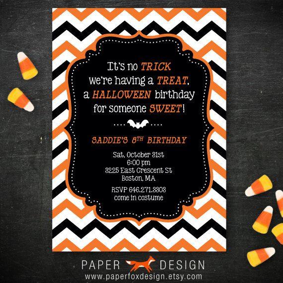 Halloween Birthday Party Invitation Diy Printable Chevro Halloween Birthday Party Invitations Birthday Halloween Party Birthday Party Invitations Printable