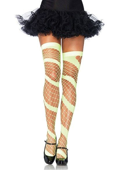 34eb0defa Swirl Diamond Fishnet NEON YELLOW Thigh High Leg Stocking High Quality Fishnet  Leggings