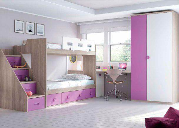 Habitaci n infantil con literas armario y escritorio for Armario habitacion nina