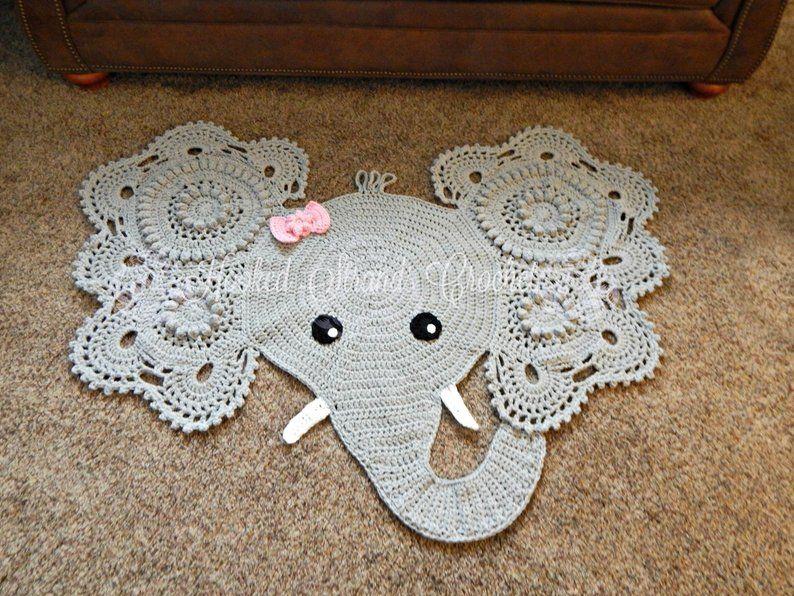 Crochet Elephant Rug For Nursery Room