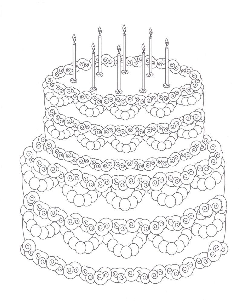Beautiful Birthday Cake Coloring Page
