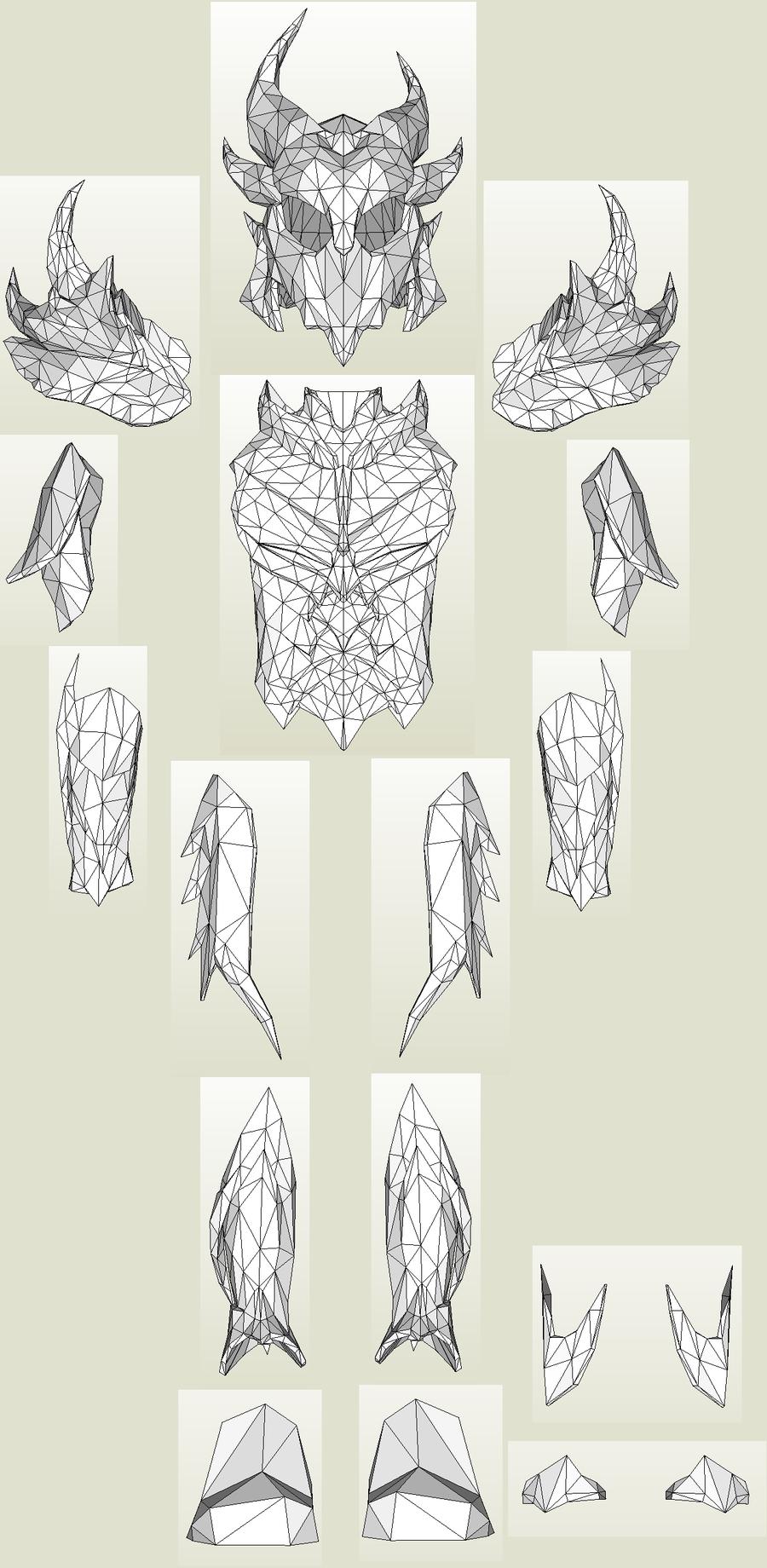 Full daedric armor in pepakura by kuraudo3iantart on craft pronofoot35fo Image collections