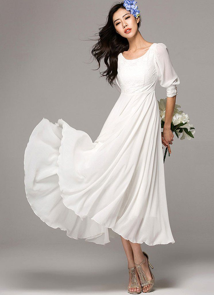 7374d1a8b471 Half Sleeve White Maxi Dress with Lace Details on the Front Bodice and Cuff