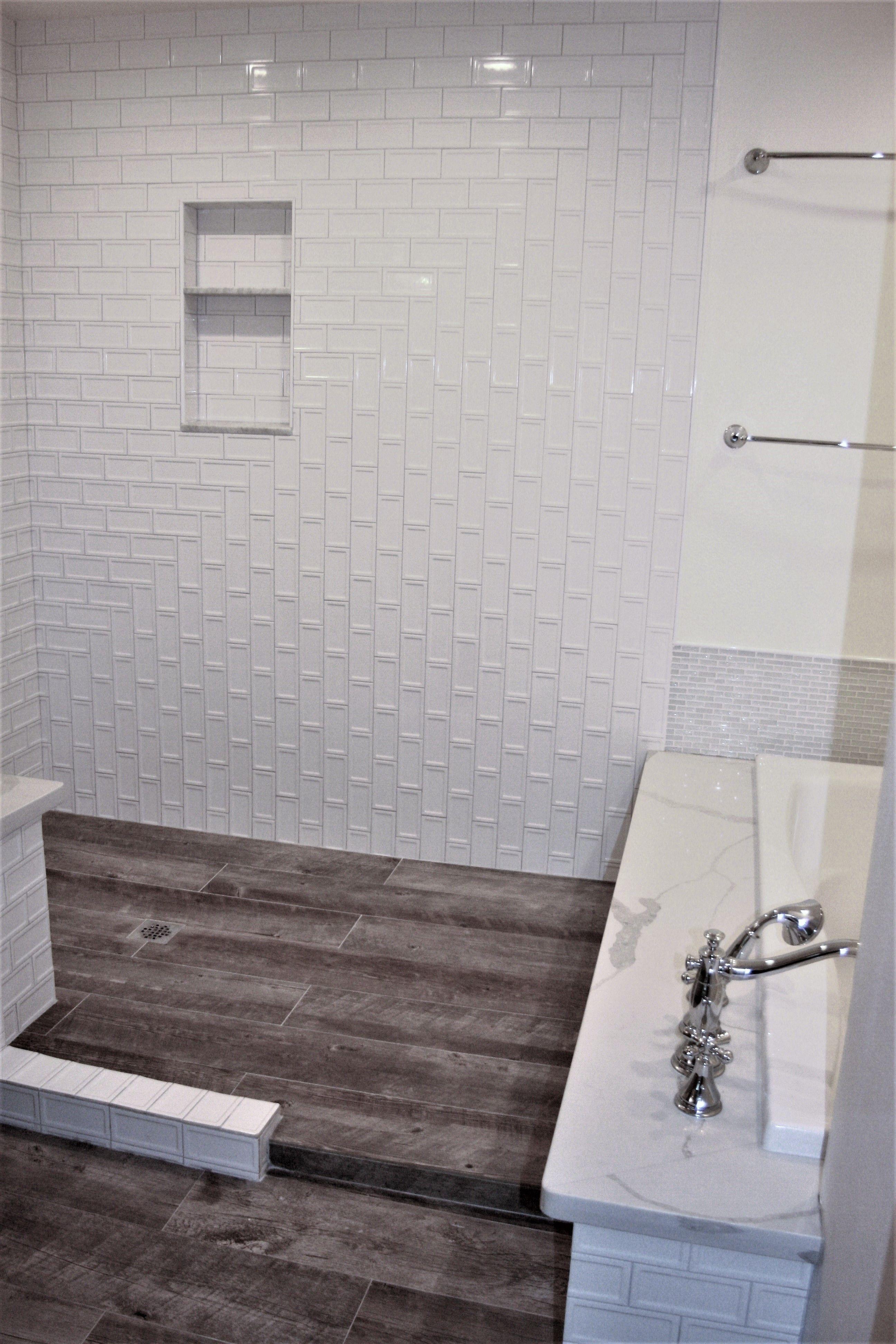 wood look tile bathroom walk in