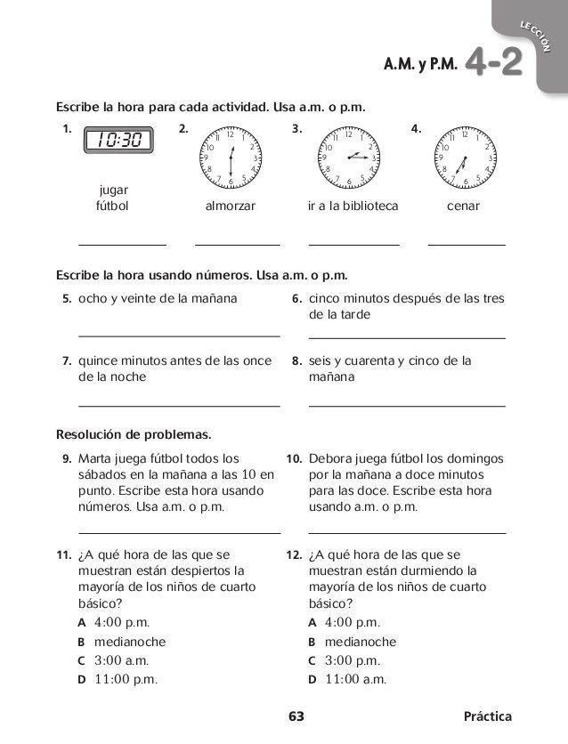 Resultado de imagen para ejercicios de la hora cuarto basico | Lectura de  comprensión, Actividades de matematicas, Actividades de cuarto grado