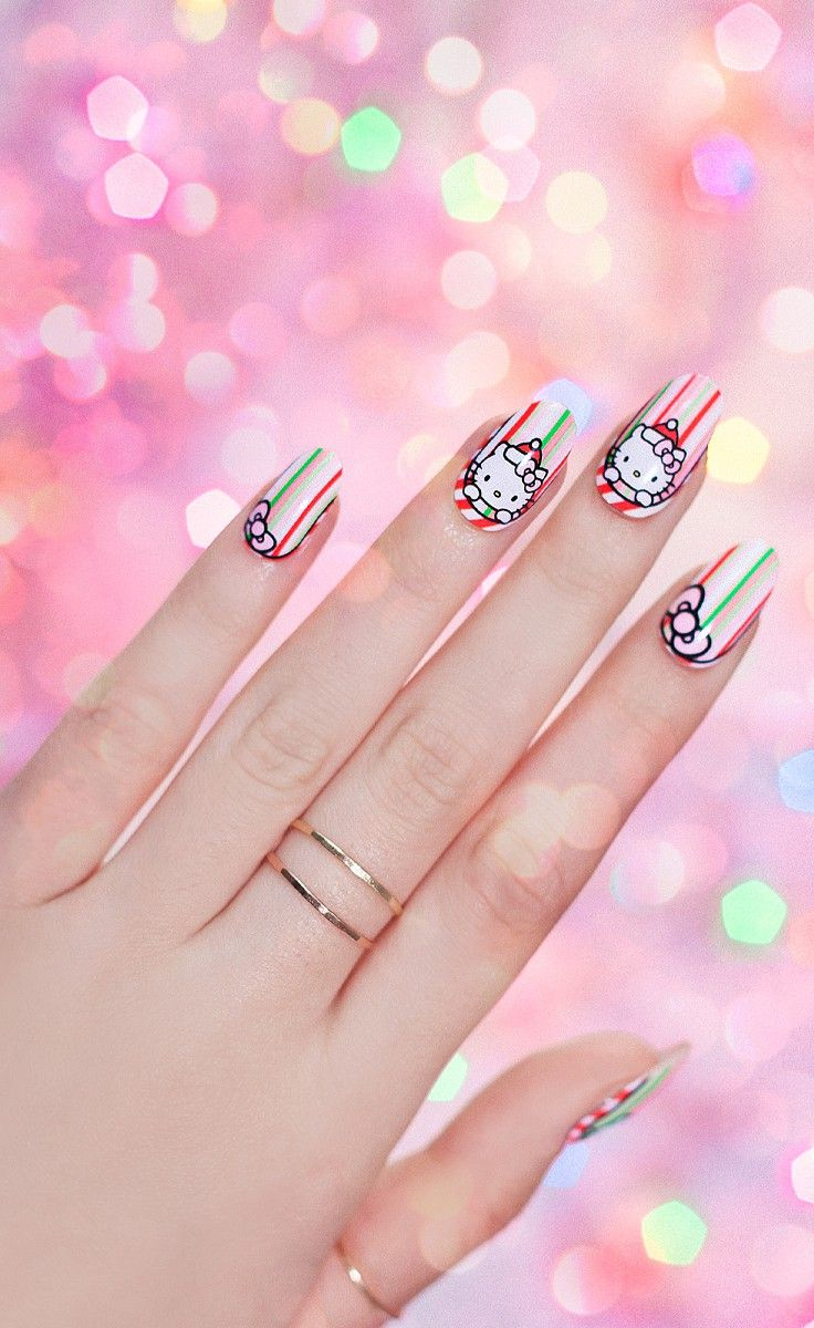 Candy Canes And Bows Nail Wrap Hello Kitty Christmas Holiday