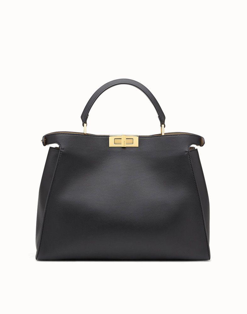 efcbf9c503a9 FENDI PEEKABOO ESSENTIAL - Black and beige leather handbag - view 3 detail
