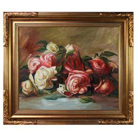 "Hand-painted and framed oil reproduction of Pierre-Auguste Renoir's Discarded Roses.    Product: Framed canvas reproduction Construction Material: Canvas, solid wood and oil paint Color: Bronze frame Features: Reproduction based on work by Pierre-Auguste Renoir Hand-painted Dimensions: 27"" H x 31"" W x 2"" D  Cleaning and Care: Wipe clean with a damp cloth"