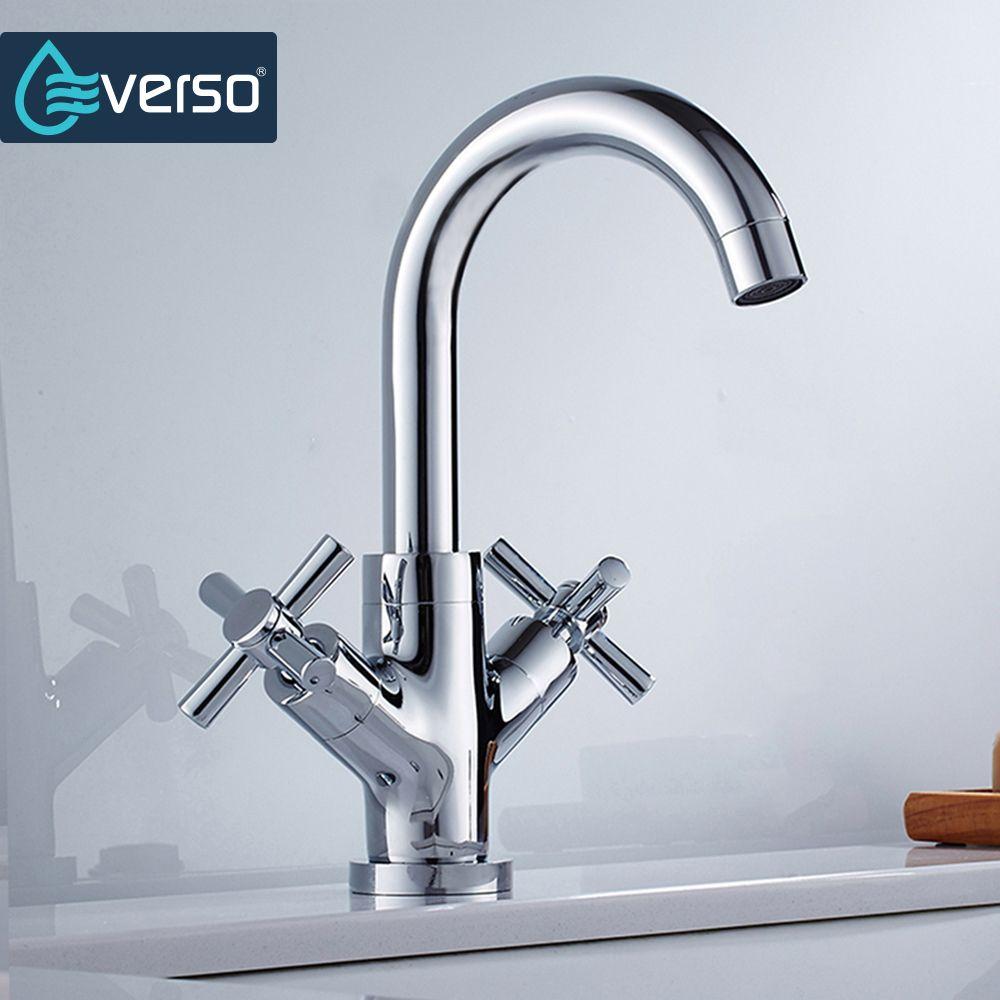 EVERSO Unique Brass Kitchen Faucet Chrome Dual Handle Single Hole ...
