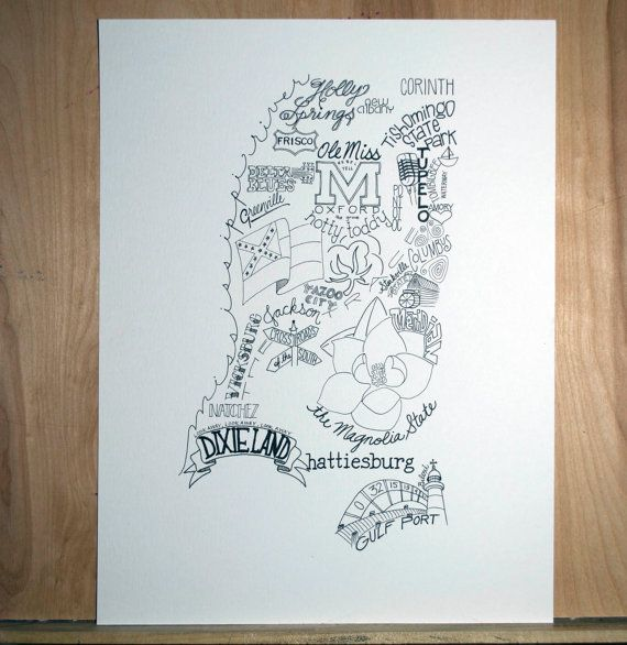 Mississippi Hand drawn illustrations and type by TypeByHand, $30.00 ...