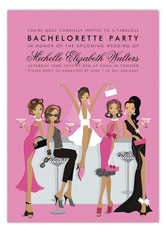 African American Bachelorette Bar Invitation AfricanAmerican BridalShower Invitations
