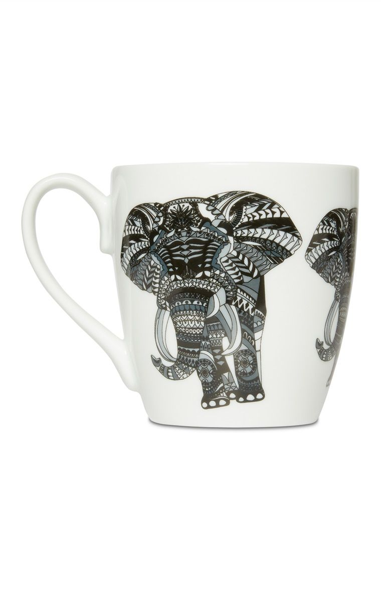 Primark - Monochrome Elephant Mug | Kitchen | Pinterest | Monochrome ...