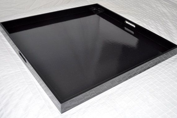20 22 Or 24 Square Ottoman Tray Black By Loveitupdecor On Etsy