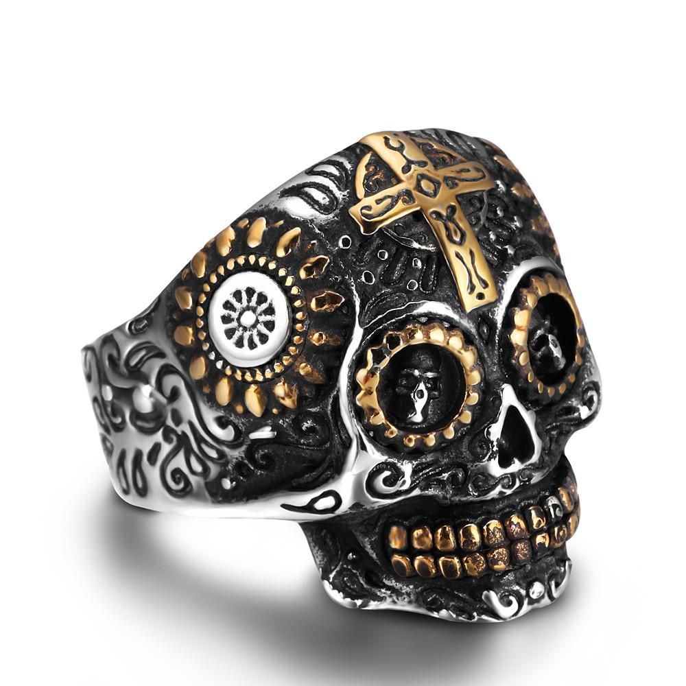 stone product men punk stainless for with steel red ring jewelry chain rings mens skull halloween skeleton