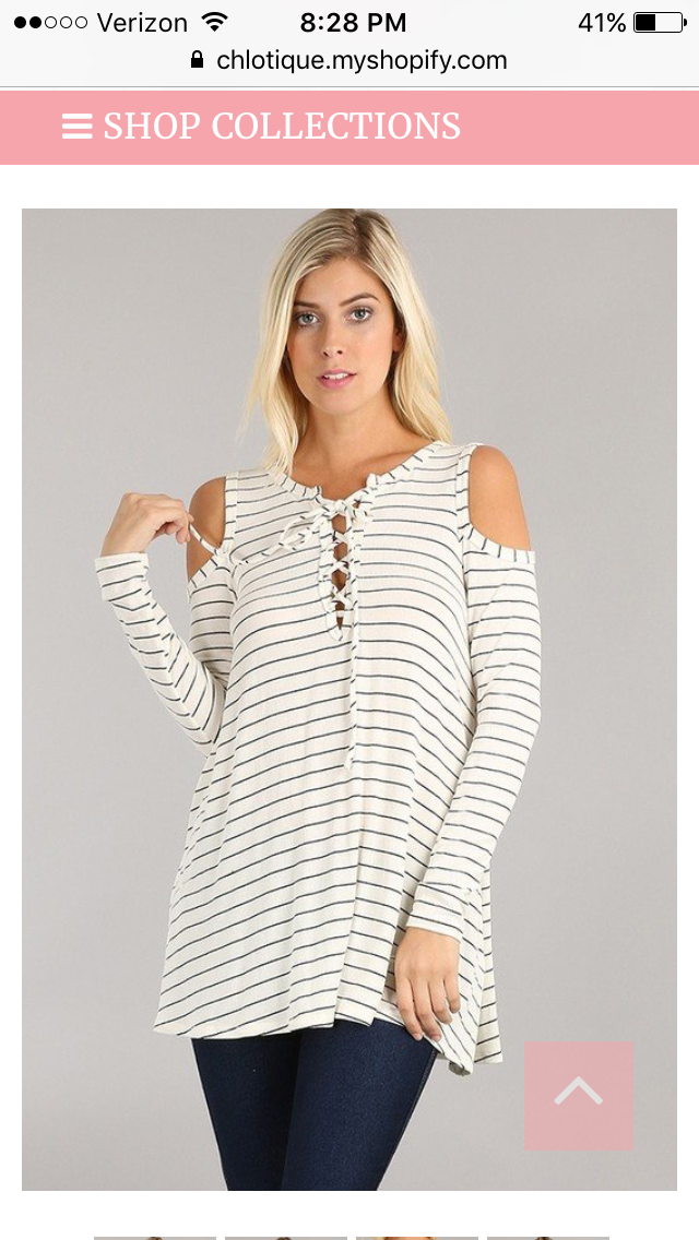 Striped Lace Up Cold Shoulder Top