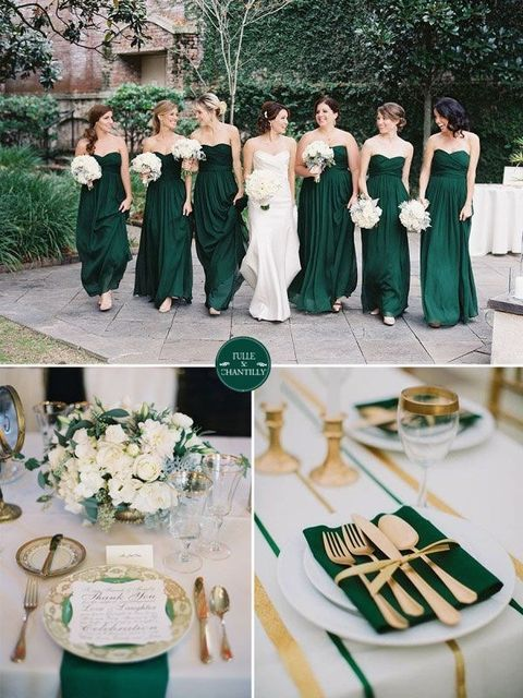 Bridesmaid Dresses Emerald Green And Gold Fall Wedding Color Ideas Trends