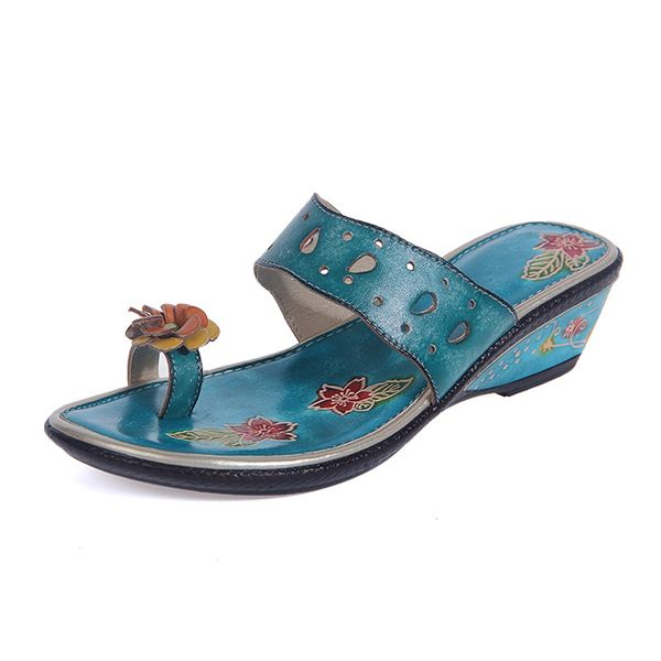 12ea3e0b7cd4 SOCOFY Handmade Floral Print Clip Toe Carving Retro Sandals Worldwide  delivery. Original best quality product