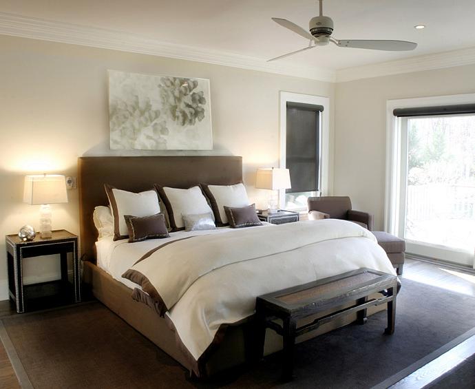 Bedrooms brown headboard bed black faux crocodile tables nightstands nailhead trim crystal Brown walls in master bedroom