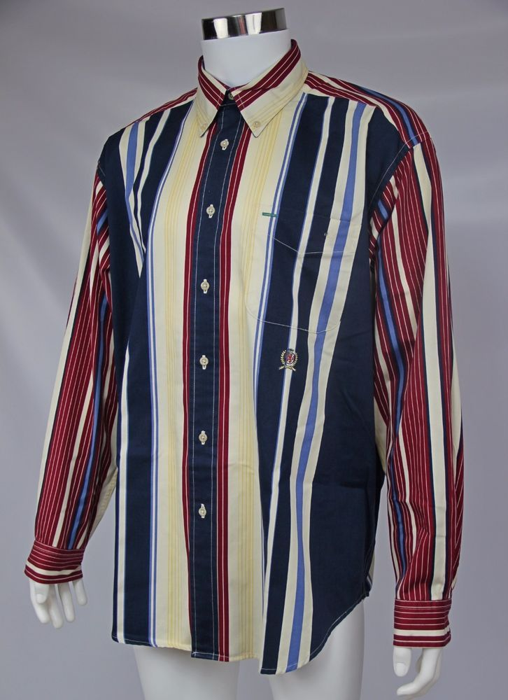 Vintage 90's Tommy Hilfiger Mens Large Ivory Red Blue Striped Long Sleeve Shirt #TommyHilfiger #ButtonFront