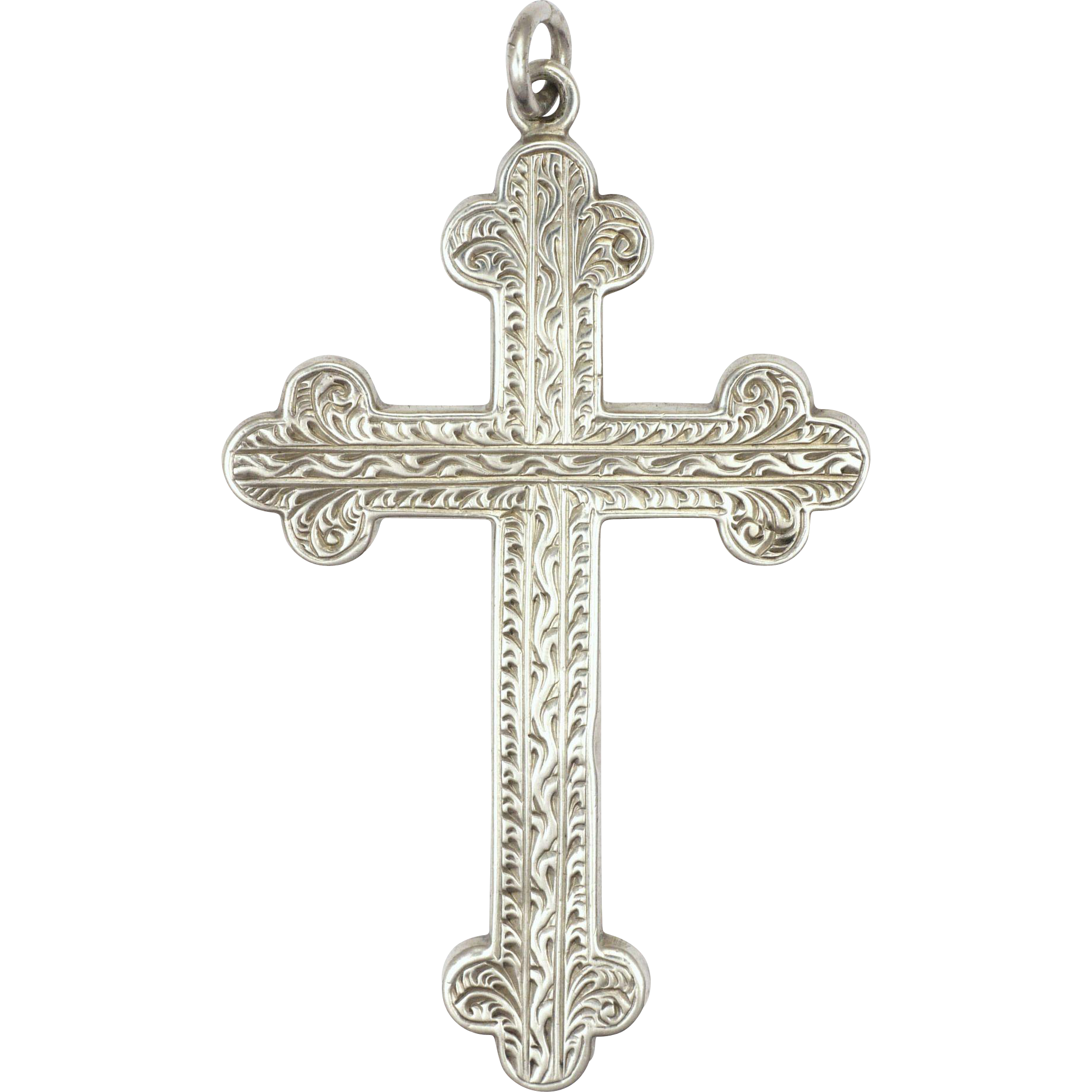 Victorian sterling silver and engraved cross pendant 2 and 316 inches vintagebeginshere at rubylane rubylanecom victorian sterling silver and aloadofball Images
