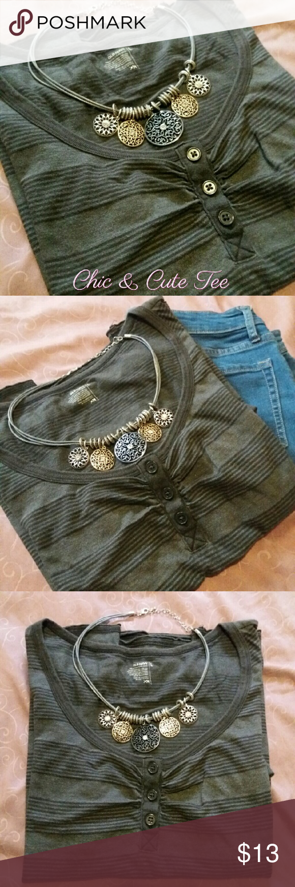 Old Navy Button Top Chic & cute black & gray stylish top. Gently used but like new in excellent condition! Tops Tees - Short Sleeve