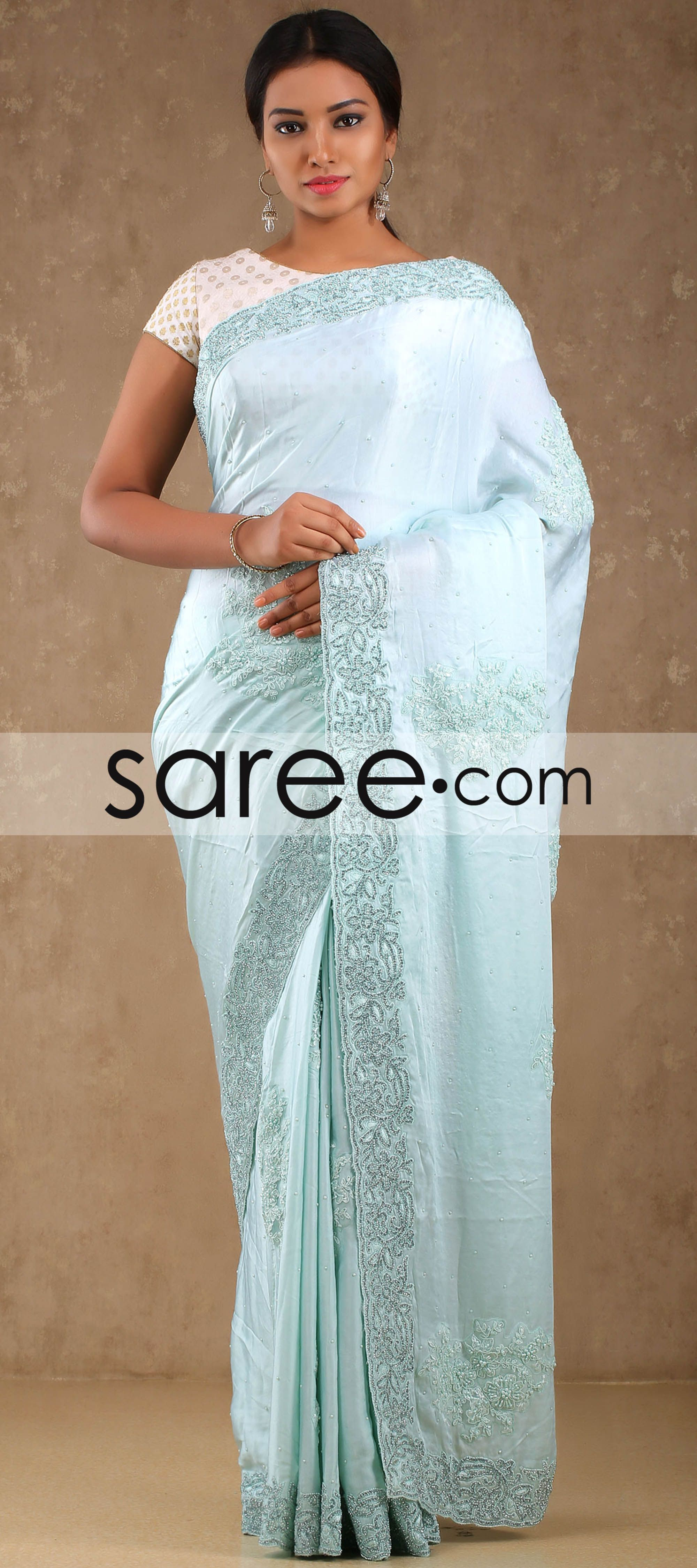 Sky Blue Satin Saree with Embroidery Work By Asopalav