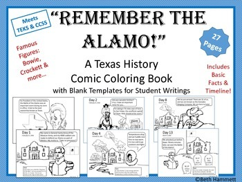 Texas History Remember The Alamo Texas History Comic Coloring