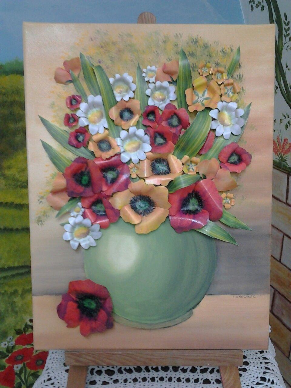 Tela 3d dipinta a mano in acrilico e fiori applicati volumik 3d !