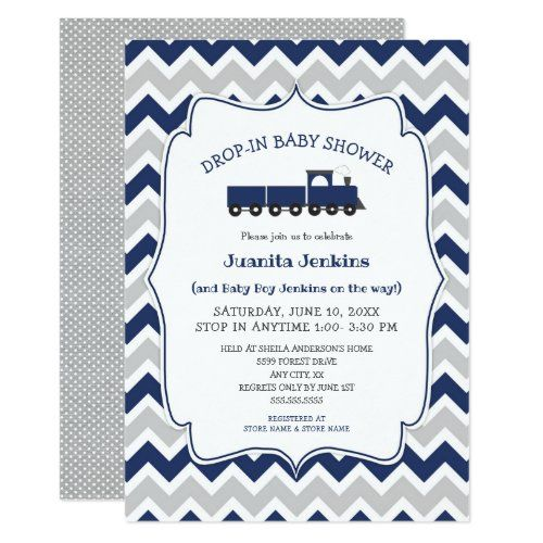 Drop-in boy baby shower / open house invitation