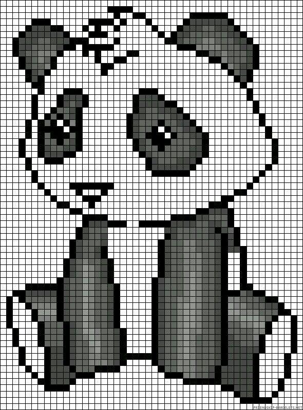 Oso panda | Pixel Art | Pinterest | Bordado, Puntos and Croché