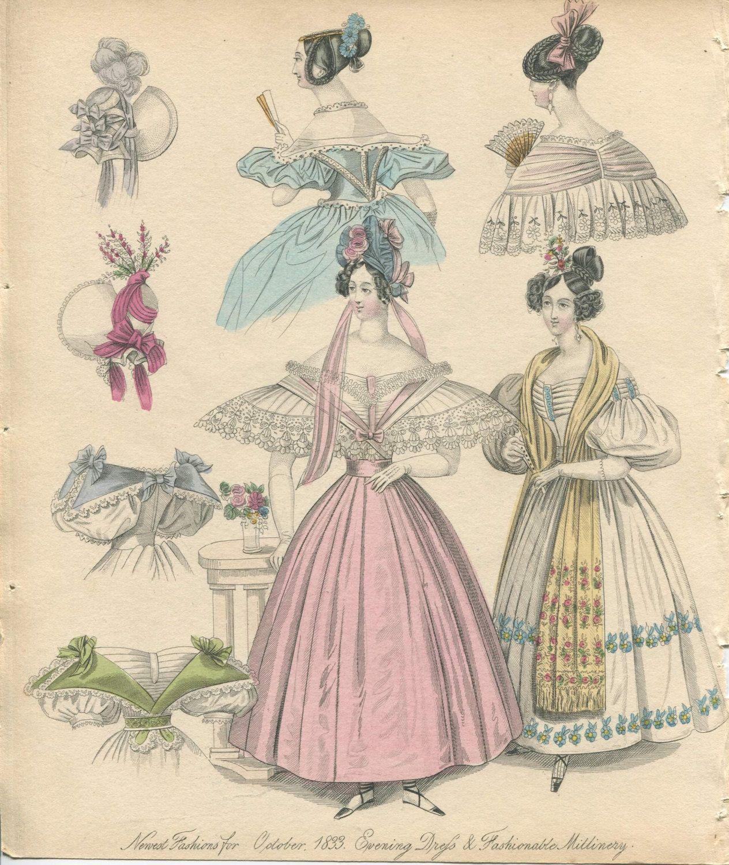 Victorian Fashion Plate Hand Coloured Bookplate Color Vintage Etsy In 2020 Victorian Fashion Hand Coloring Fashion Plates