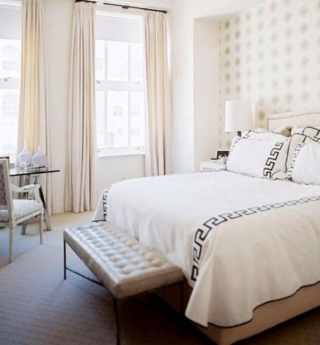Modern Shabby Chic Bedroom Ideas With White Walls Glass Windows Long Cream Curtains Nice Wallpaper Black