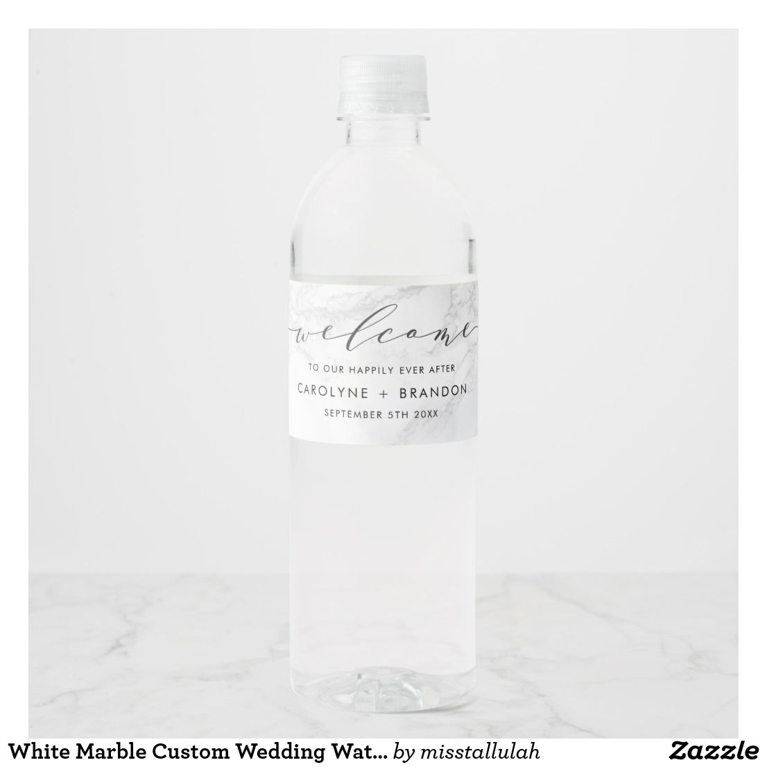 White Marble Custom Wedding Water Bottle Labels