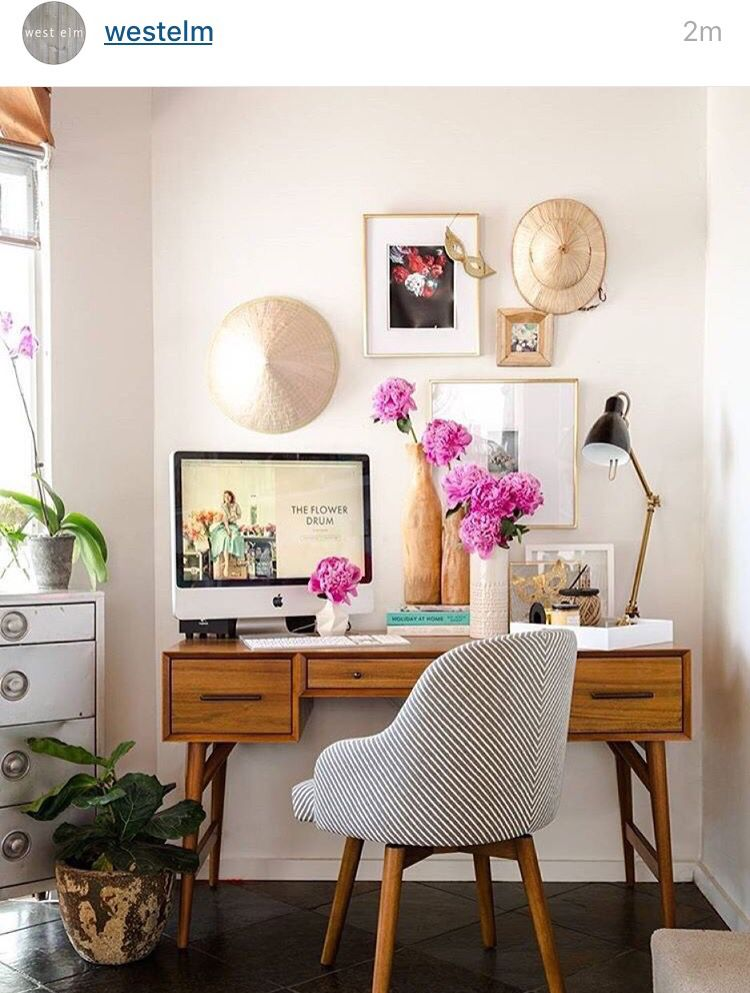 Office make over. Office inspiration. West elm. Eclectic