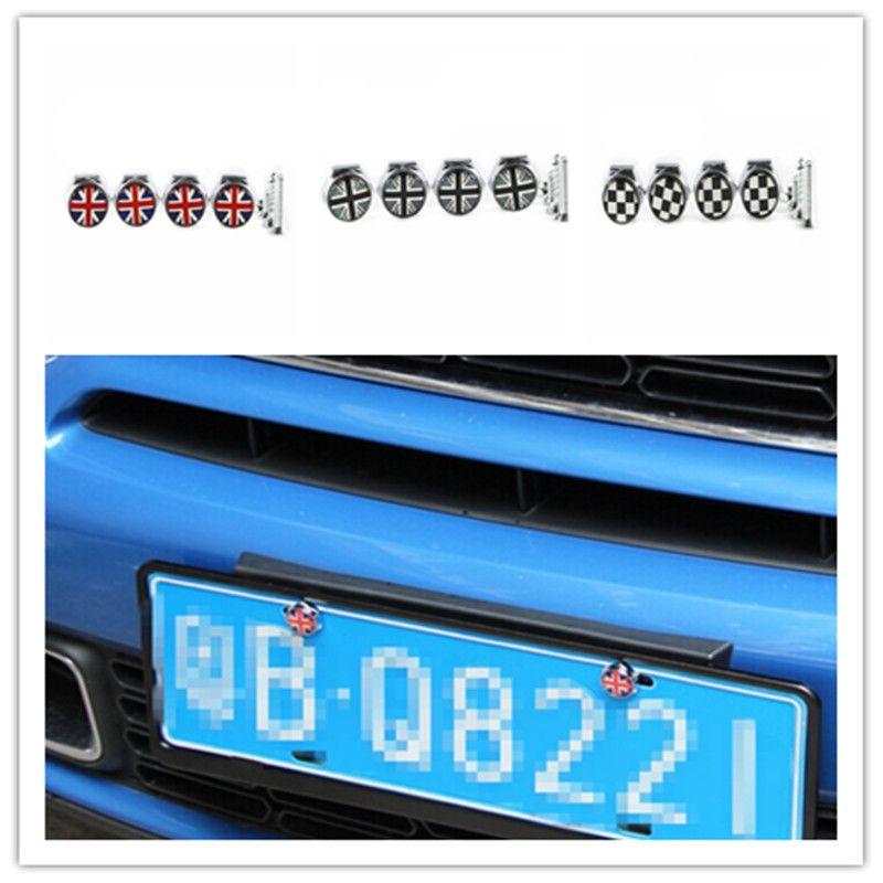 for mini cooper accessories license plate frame bolt screw caps union jack checker f55 f56 r55 - Mini Cooper License Plate Frame