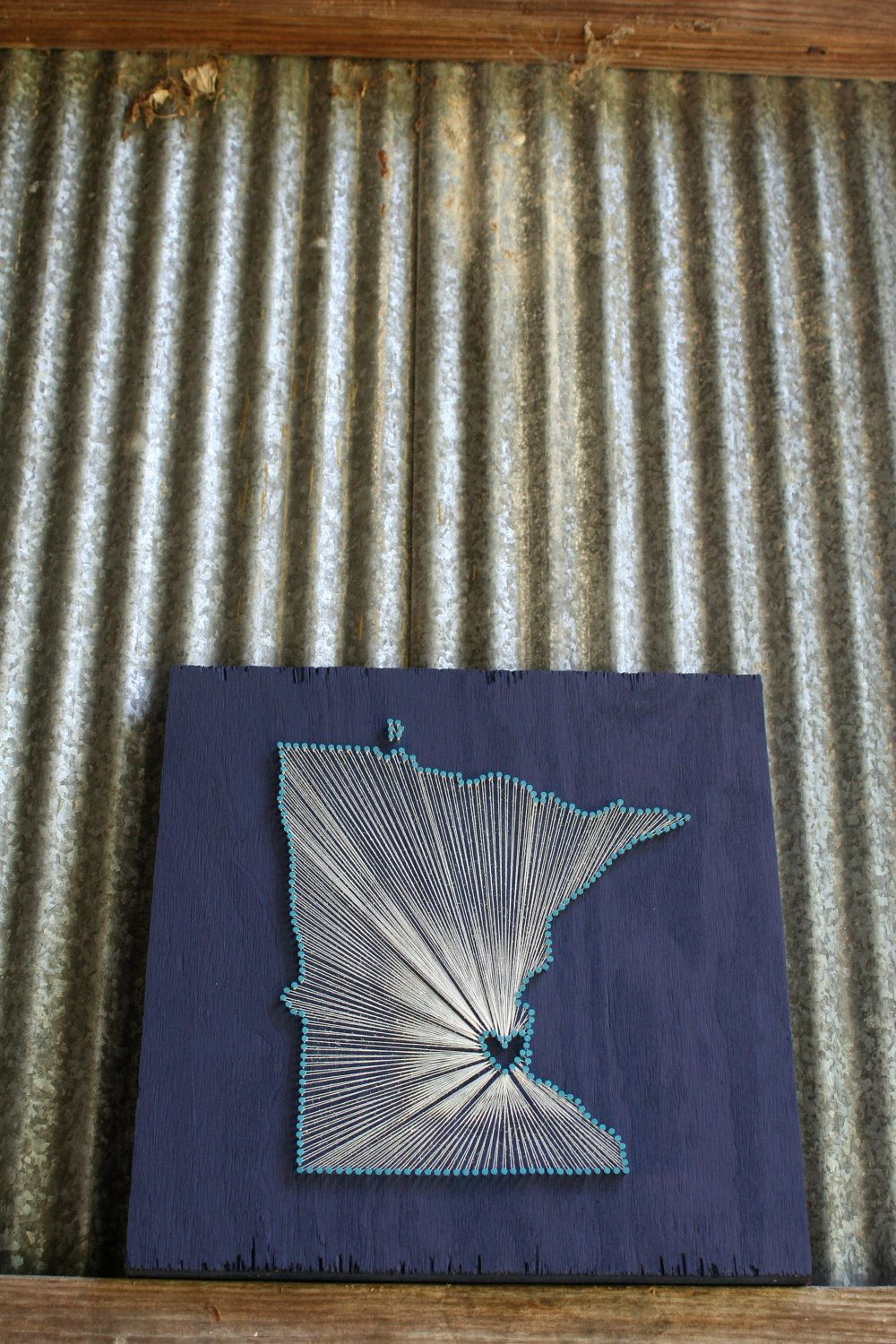 Minnesota Love Reclaimed Wood Nail And String Art Tribute To The