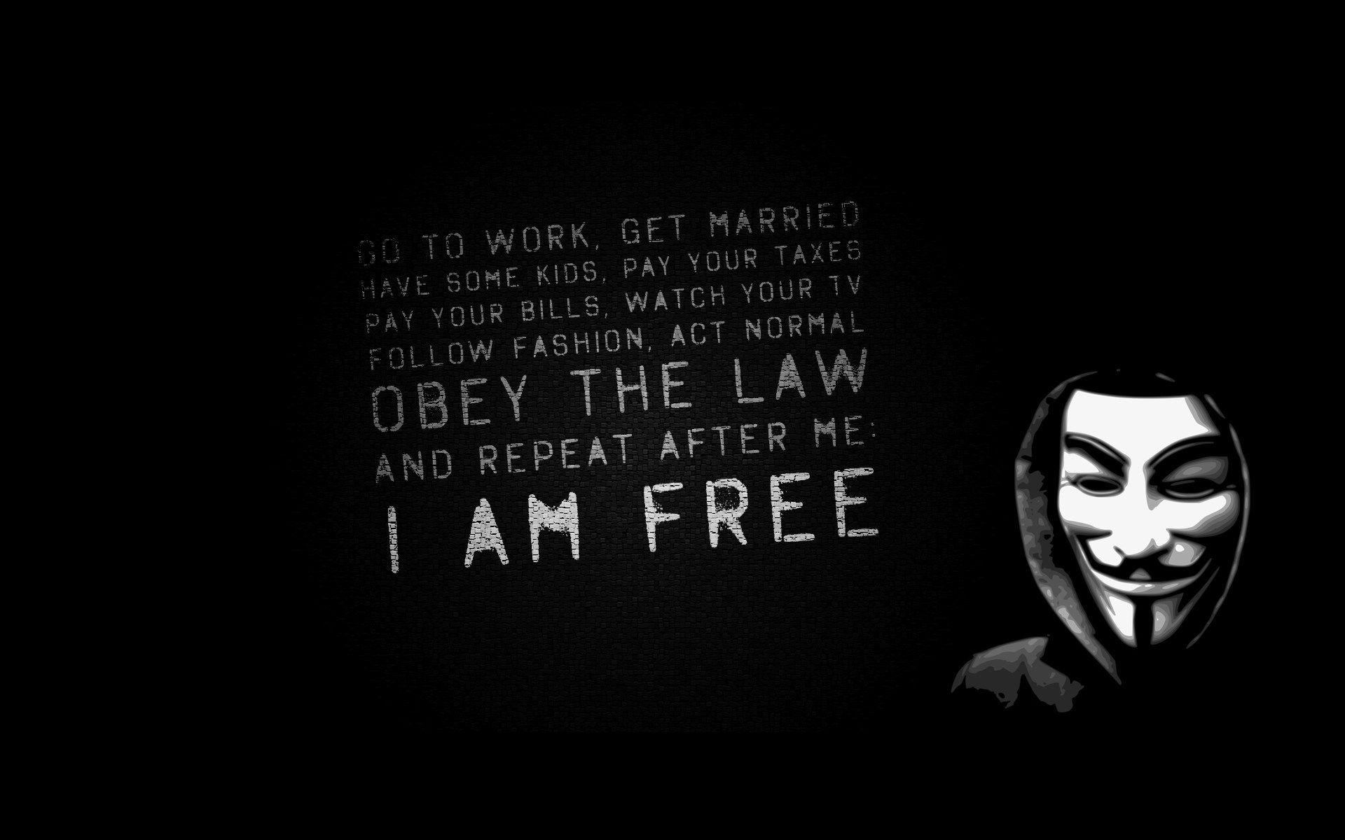 am i free anonymus Computer Wallpaper V for vendetta