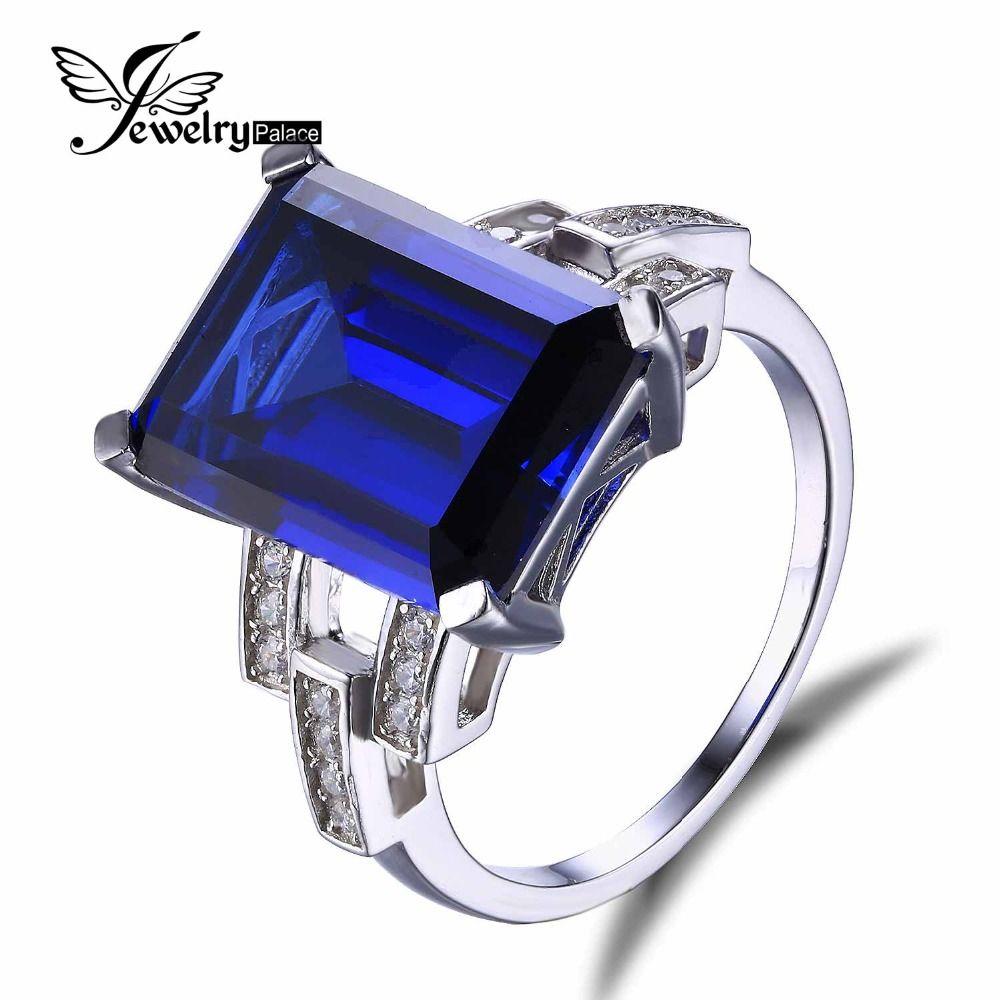 Jewelrypalace 고급 에메랄드 컷 9.6ct 만든 블루 사파이어 칵테일 반지 정품 925 스털링 실버 링 패션 여성