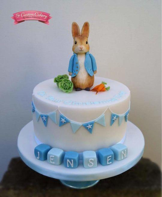 Peter Rabbit Baptism Cake With Images Christening Cake Boy