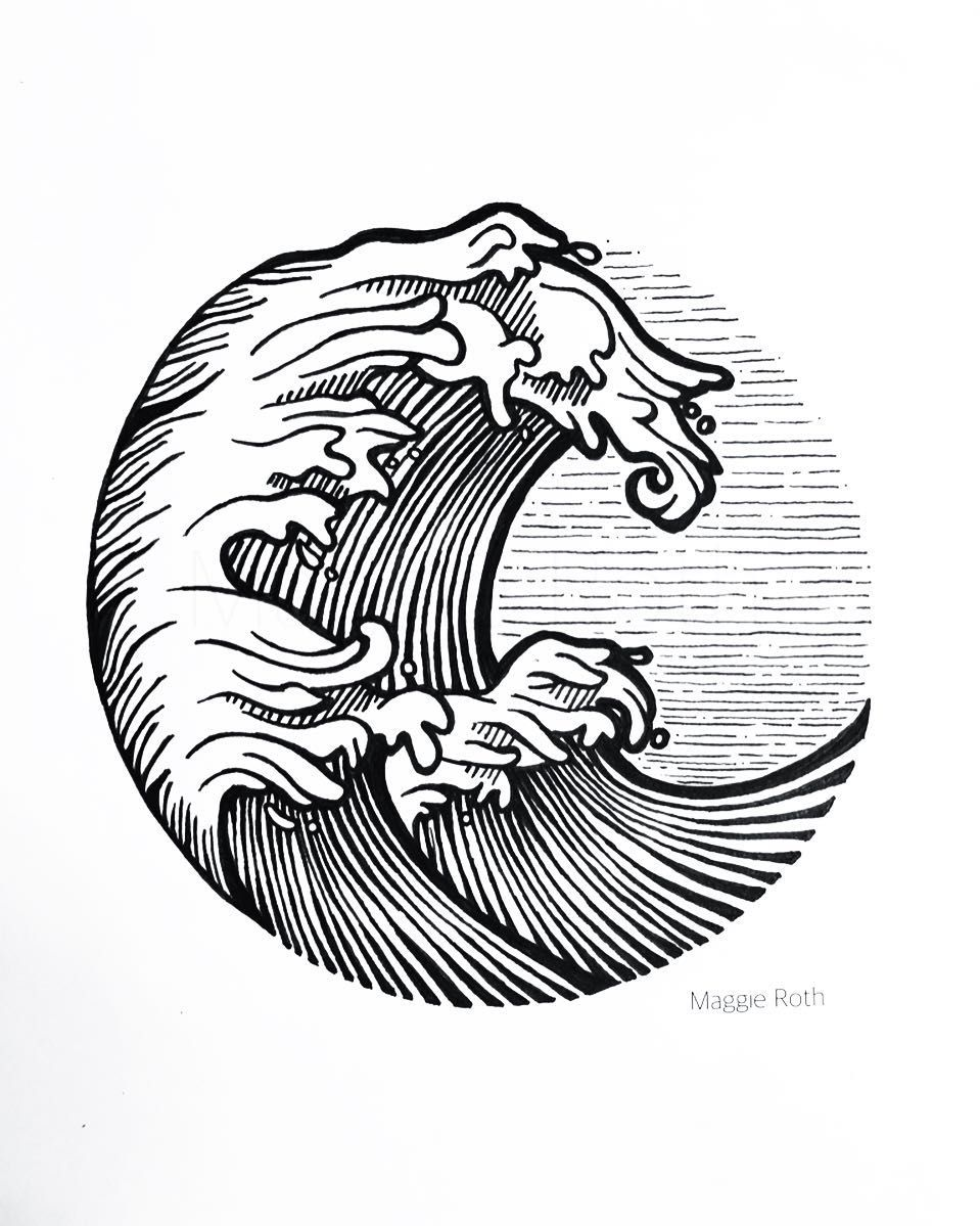 Line Art Waves : The line work in this image shows incredible detail