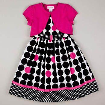 Girls Stripe Dot Crinoline Dress and Shrug