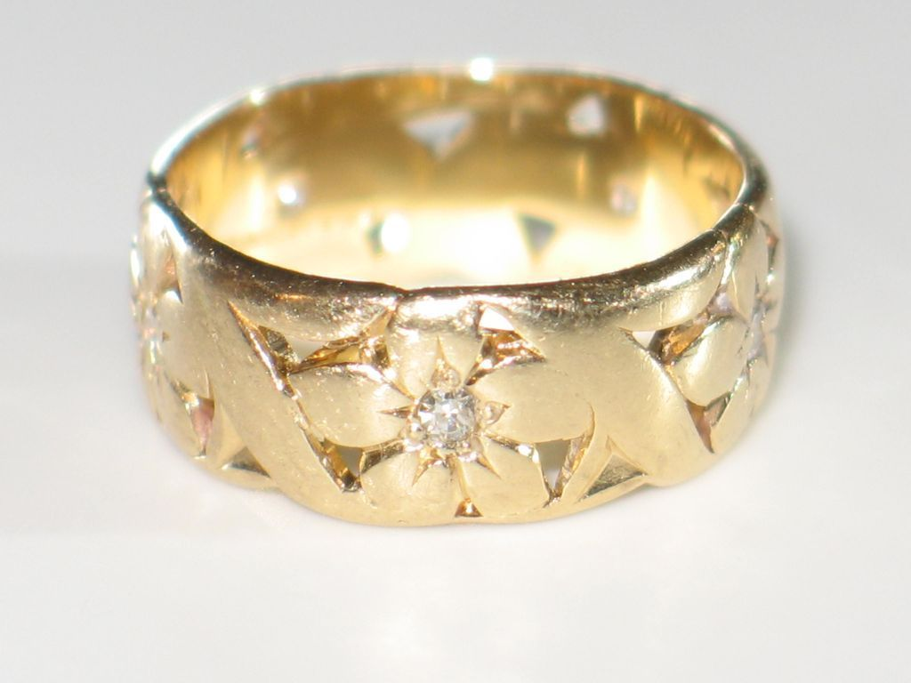 love artcarved, wide vintage wedding band with diamonds and 14k
