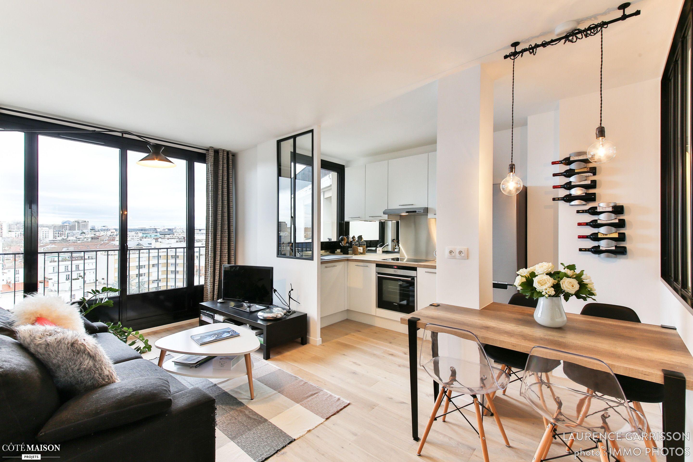 ce petit nid d 39 amour situ au 10e tage d 39 un immeuble de boulogne billancourt avait un potentiel. Black Bedroom Furniture Sets. Home Design Ideas