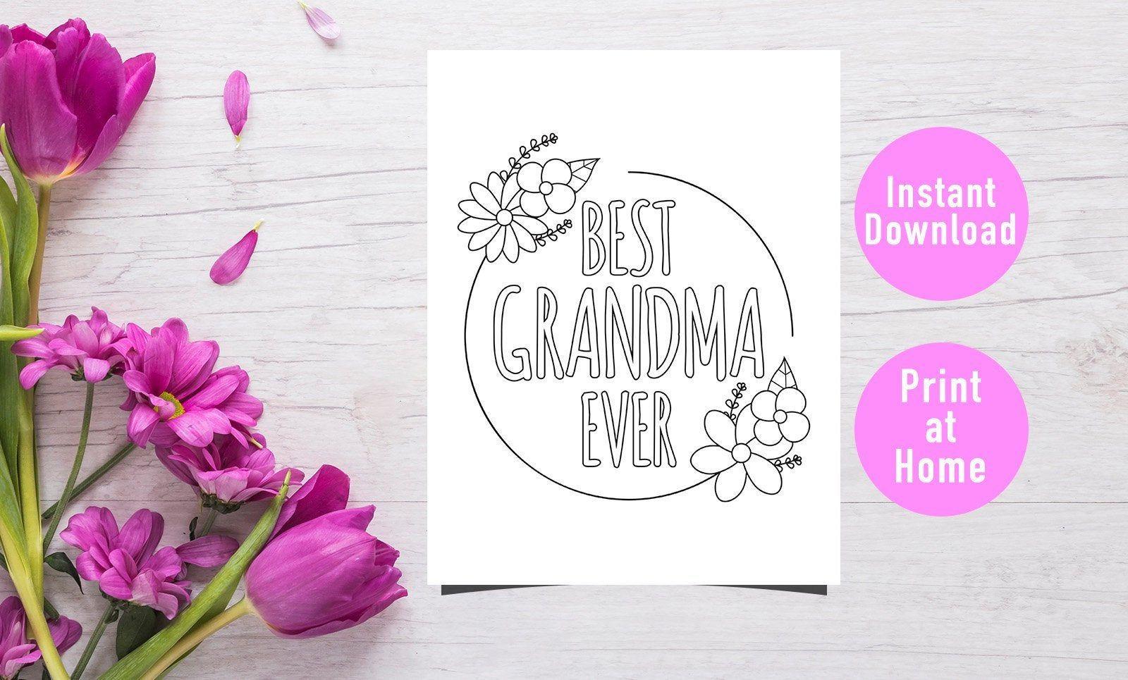 Best Grandma Ever Coloring Page Grandma Gift Mother S Etsy Coloring Pages For Kids Coloring For Kids Coloring Pages