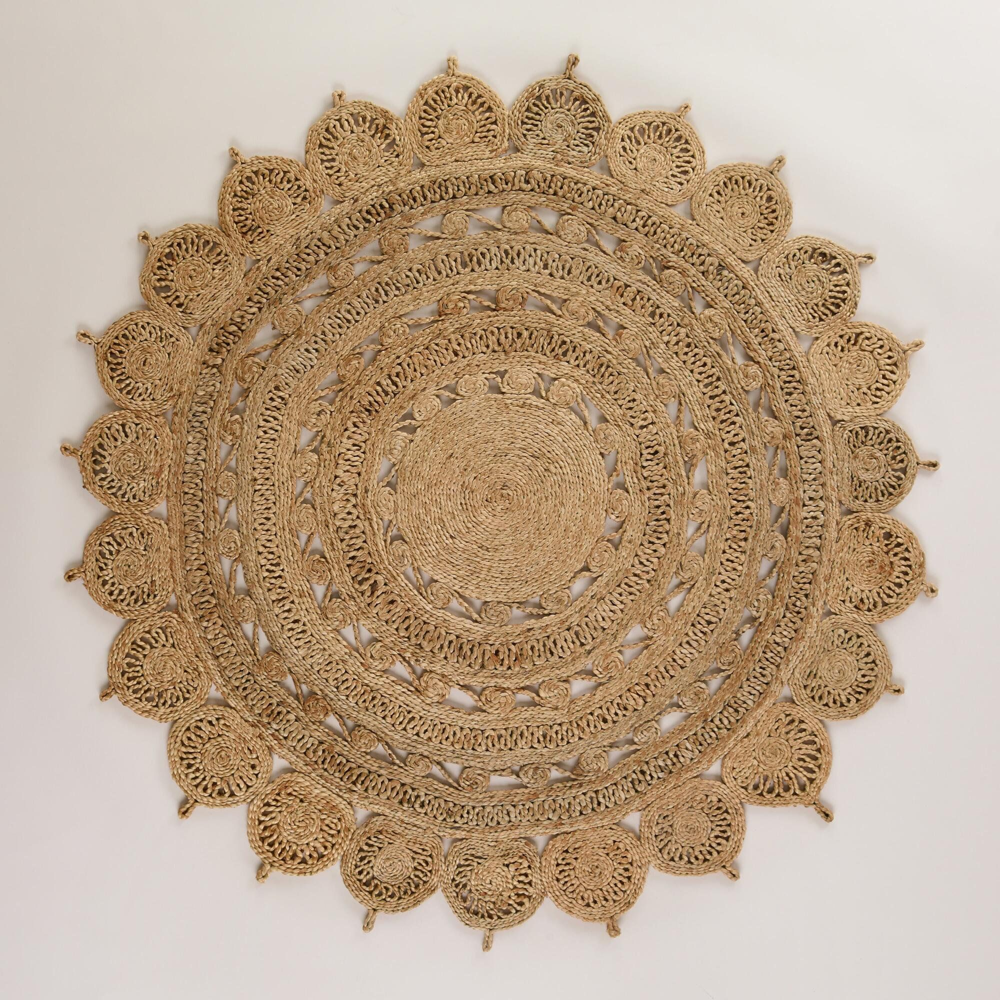 Jute Round Rug 150cm Natural Handmade Hemp Carpet With Images