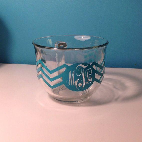 Monogram Glass Chevron Coffee Mug by KreationsbyKatelyn on Etsy, $10.00