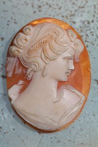 Antique Victorian Italian Hand Carved Shell Cameo with No Setting